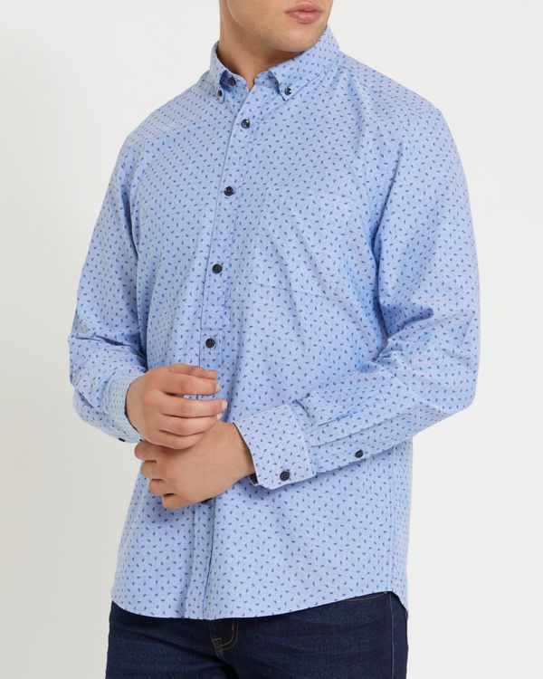 Regular Fit Long-Sleeved Oxford Print Shirt