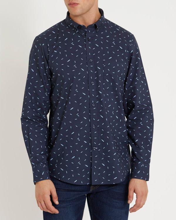 Regular Fit Long-Sleeved Oxford Print Shirt