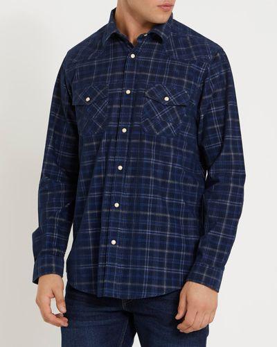 Long-Sleeved Regular Fit Printed Corduroy Shirt