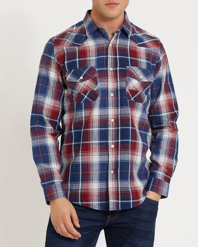Long-Sleeved Regular Fit Indigo Check Shirt