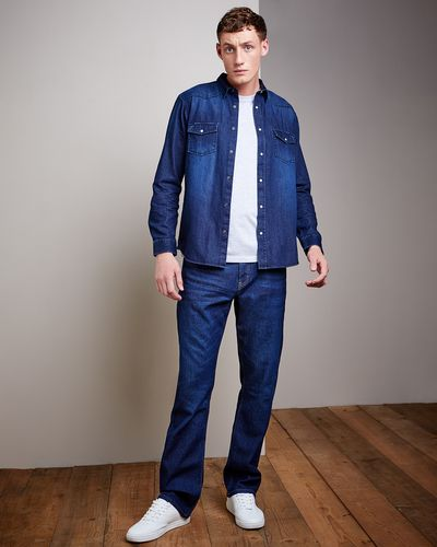 Regular Fit Long-Sleeved Denim Shirt