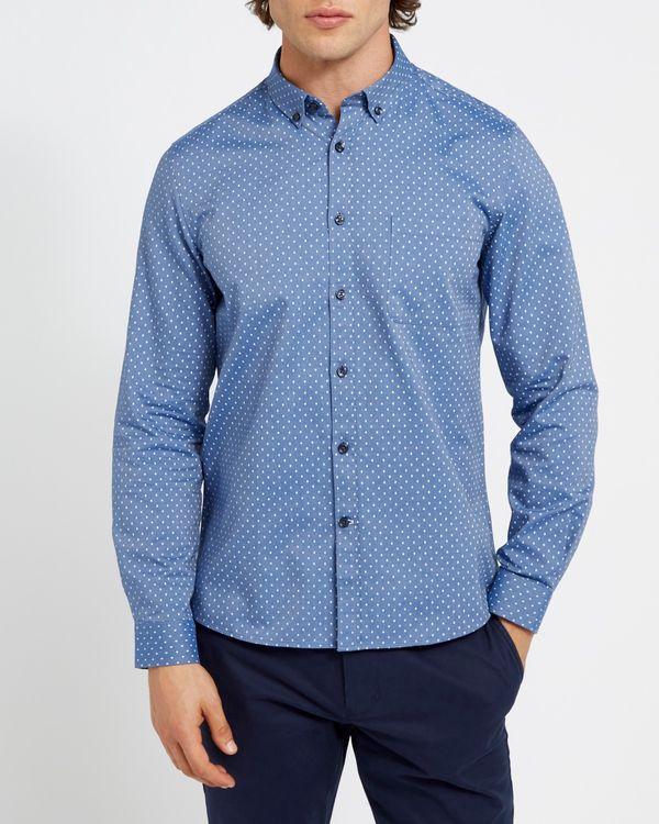 Slim Fit Long-Sleeved Oxford Print Shirt