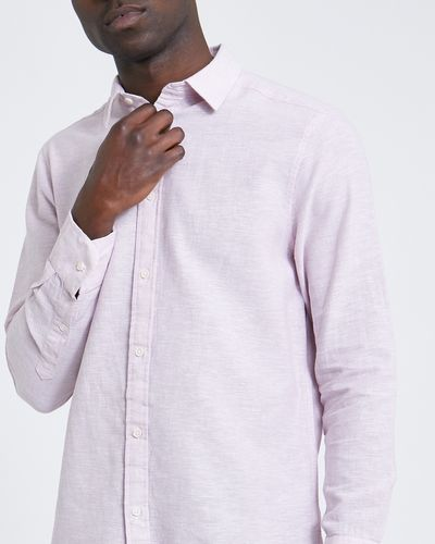 Regular Fit Long-Sleeved Linen Blend Solid Shirt