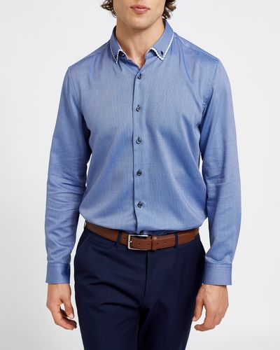 Regular Fit Navy Luxury Collar Shirt