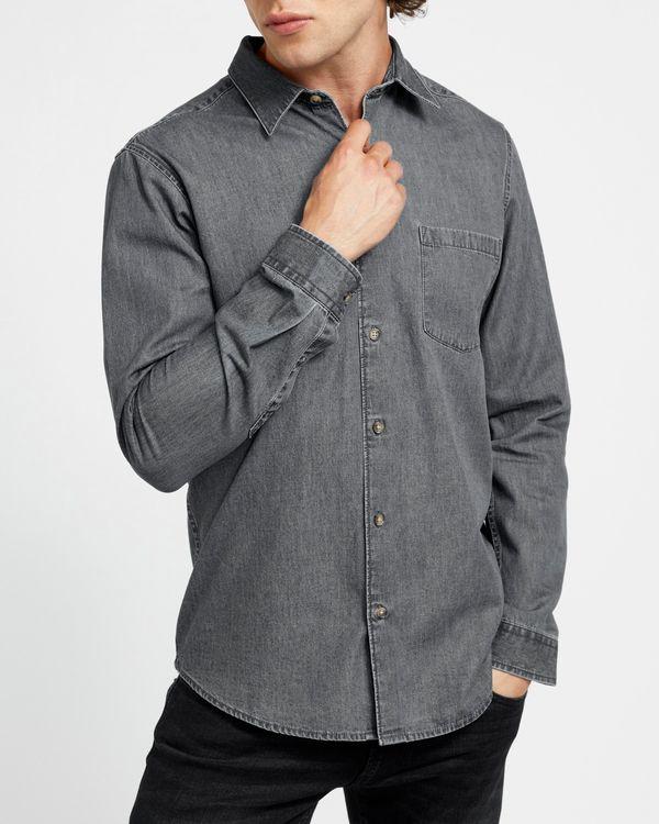 Long-Sleeved Regular Fit Denim Shirt Grey