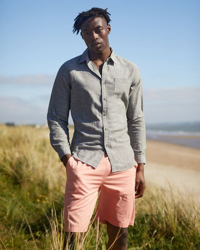 Regular Fit Linen Blend Solid Long-Sleeved Shirt