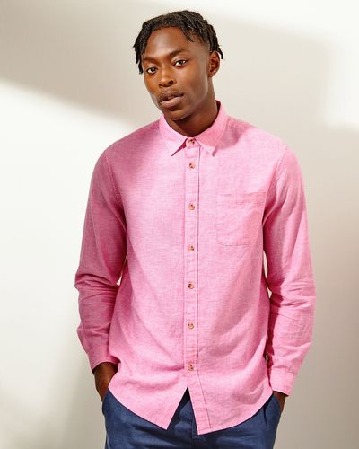 Regular Fit Linen Blend Solid Long-Sleeved Shirt