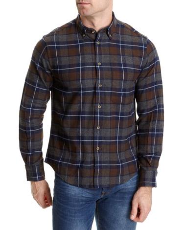 brownRegular Fit Brushed Cotton Check Shirt