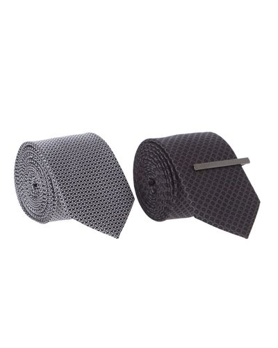 Slim Tie With Bar - Pack Of 2