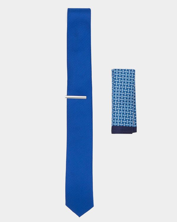 Three-Piece Slim Poly Tie Hankie And Pin Set