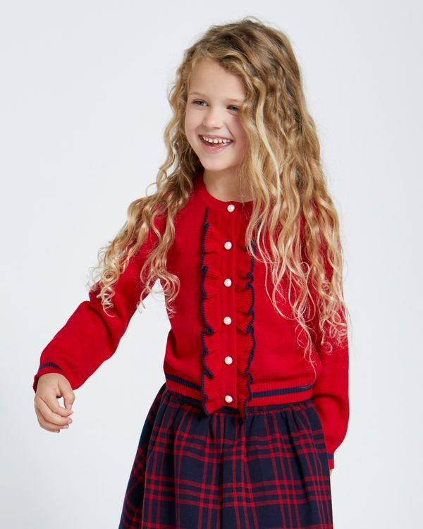 Paul Costelloe Living Red Frill Cardigan