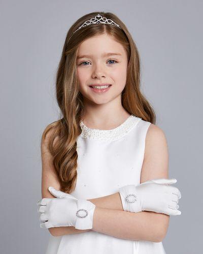 Paul Costelloe Living Ivory Diamanté Organza Gloves