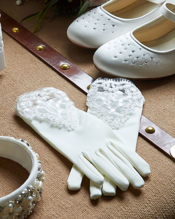Paul Costelloe Living Ivory Beaded Lace Glove