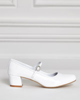 white Paul Costelloe Living Patent Heeled Shoes