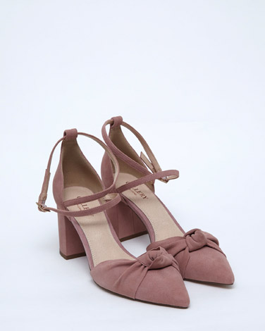 pink Gallery Leather Knot Front Shoe
