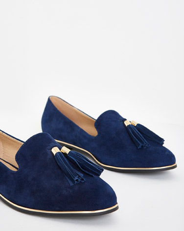 navy Gallery Suede Tassel Loafers