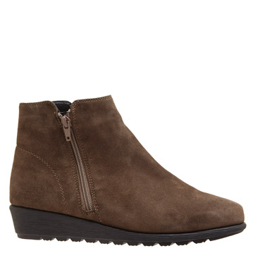 taupeSuede Low Wedge Ankle Boot