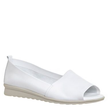 white Studio Flexx Leather Open Toe Shoes