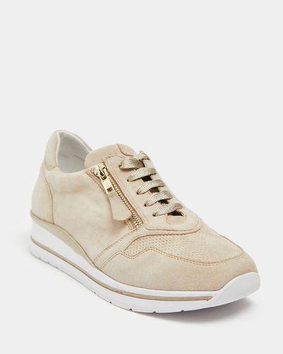 Leather Zip Detail Sporty Shoe