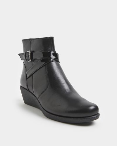 Leather Wide Fit Wedge Boot
