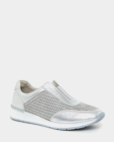 Leather Silver Diamante Slip On Shoes