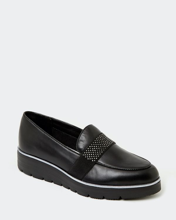 Leather Bead Tab Loafer
