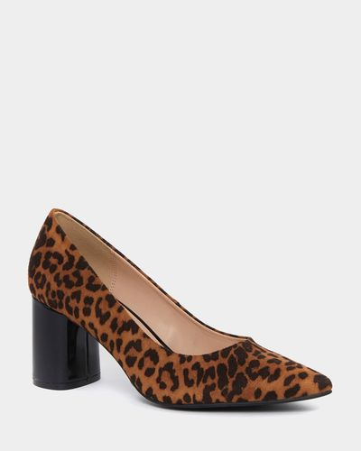 Leopard Block Heel Court Shoes