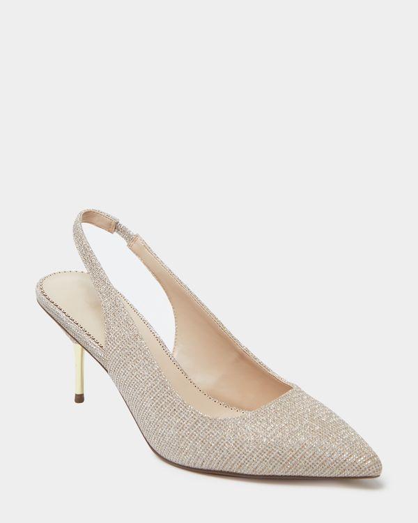 Glitter Low Heel Sling Back Shoe