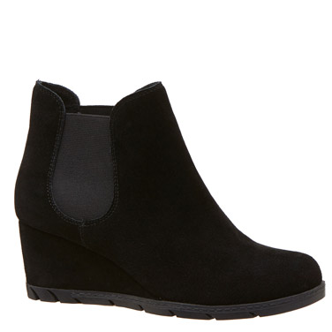 blackSuede Wedge Ankle Boot