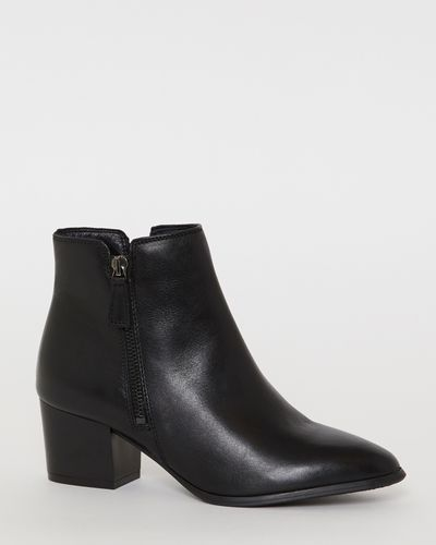 Leather Side Zip Ankle Boot