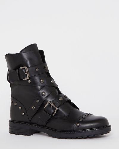 Leather Stud Biker Boots