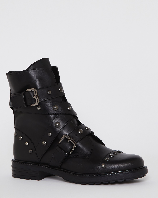 Black Leather Stud Biker Boots