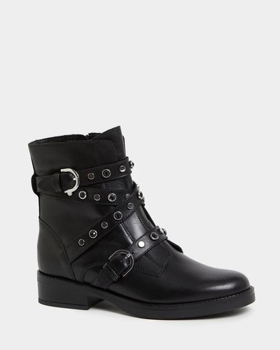 Leather Stud And Bead Strap Biker Boots thumbnail