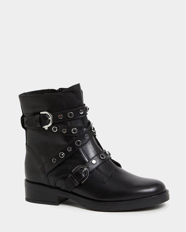 Leather Stud And Bead Strap Biker Boots