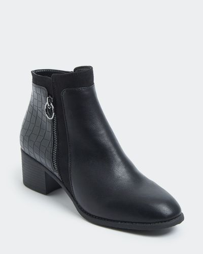 Wide Fit Croc Back Low Heel Boot thumbnail