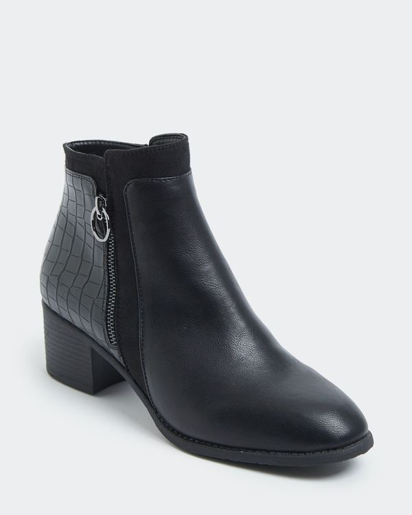 Wide Fit Croc Back Low Heel Boot