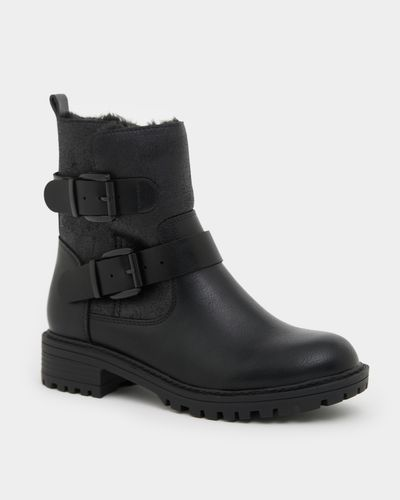 Buckle Casual Boot Fur Lining