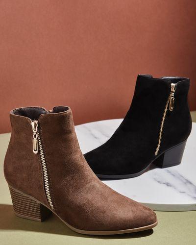 Outside Zip Low Heel Ankle Boot