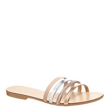 metallic Diamante Flat Sandals