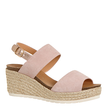 blush Suede Wedge Sandals