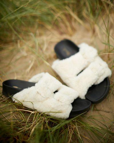 Faux Fur Buckle Footbed Slider Sandal