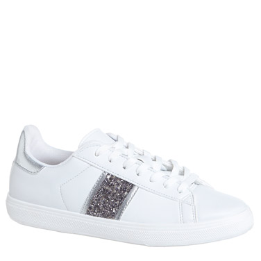 white-silverStripe Lace Up Casual Shoes