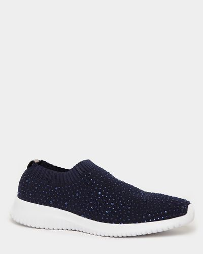 Beaded Knit Slip-On Shoes