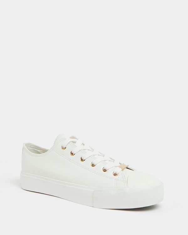 White And Rose Gold Toe-Cap Shoe