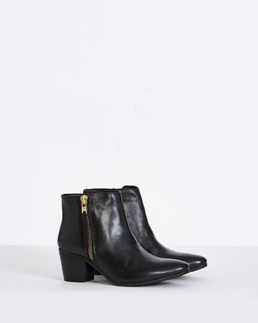 blackGallery Leather Side Zip Ankle Boots