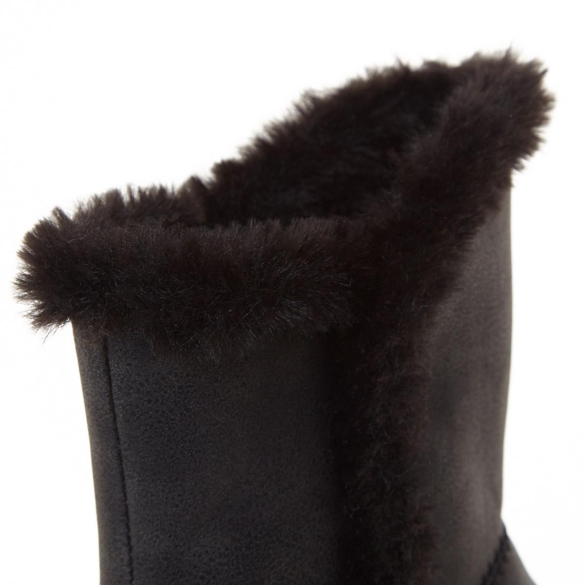 Black Older Girls Faux Fur Lined Boots