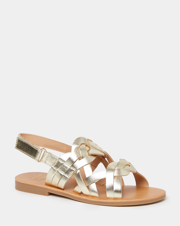 Girls Gold Woven Sandal
