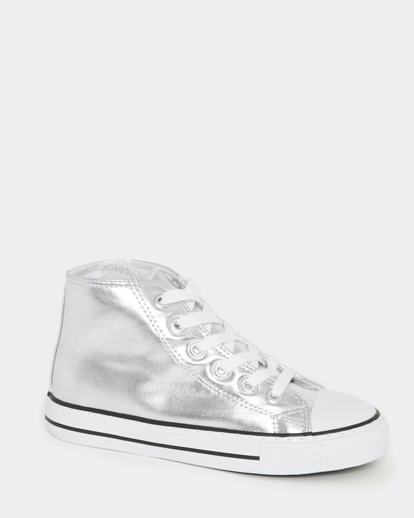 Girls Silver High Top Canvas Shoes