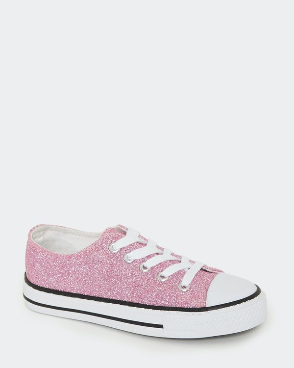 Girls Glitter Toe Cap Canvas Shoes