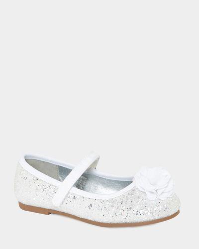 Corsage Glitter Ballerina Flats